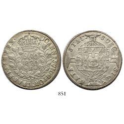Brazil (Bahia mint), 960 reis, Joao VI, 1820-B, struck over a Guadalajara, Mexico, 8 reales, 1818FS.