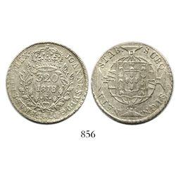 Brazil (Rio mint), 320 reis, Joao VI, 1818-R, no ornaments flanking date.
