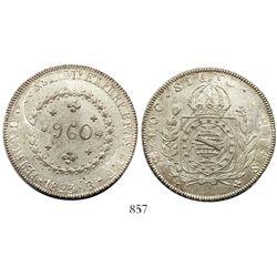 "Brazil (Rio mint), 960 reis, Pedro I, 1823-R, struck over a Lima, Peru, 8 reales, 1811JP (""imaginary"