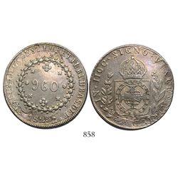 "Brazil (Rio mint), 960 reis, Pedro I, 1823-R, struck over a Lima, Peru, ""Peru Libre"" 8 reales of 182"
