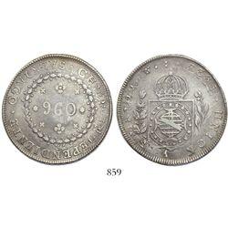 """Brazil (Rio mint), 960 reis, Pedro I, 1823-R, struck over a Santiago, Chile, """"volcano"""" peso, 1823FJ."""