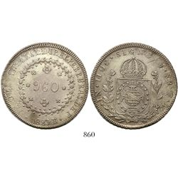 Brazil (Rio mint), 960 reis, Pedro I, 1823-R, struck over a Santiago, Chile, bust 8 reales of Ferdin