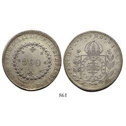 Brazil Rio mint), 960 reis, Pedro I, 1824-R, struck over a Potosi, Bolivia, 8 reales, 1813PJ.