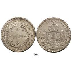 Brazil Rio mint), 960 reis, Pedro I, 1824-R struck over a Guatemala 8 reales, 1816M.