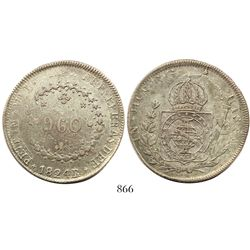 Brazil (Rio mint), 960 reis, Pedro I, 1824-R, struck over a Zacatecas, Mexico, 8 reales, 1821RG.