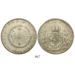 "Brazil (Rio mint), 960 reis, Pedro I, 1824-R, struck over a Lima, Peru, ""Peru Libre"" 8 reales, 1822J"
