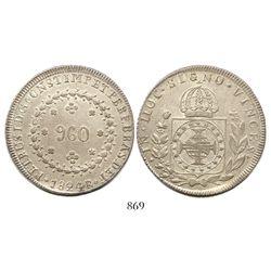 Brazil (Rio mint), 960 reis, Pedro I, 1824-R, struck over a Mexico City, Mexico (Empire), 8 reales,