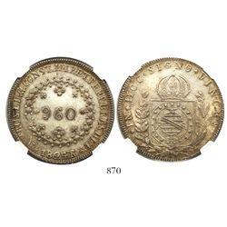 Brazil (Rio mint), 960 reis, Pedro I, 1824-R, struck over earlier issue, rare, encapsulated NGC MS 6