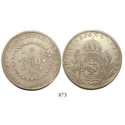Brazil (Rio mint), 960 reis, Pedro I, 1826-R, struck over a Guatemala 8 reales 1809M.