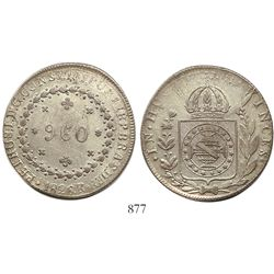 Brazil (Rio mint), 960 reis, Pedro I, 1826-R, struck over a Mexican Republic cap-and-rays 8 reales.