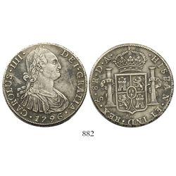 Santiago, Chile, bust 8 reales, Charles IV, 1796DA.