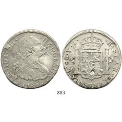 Santiago, Chile, bust 8 reales, Charles IV, 1806FJ, with chopmarks as from circulation in the Orient