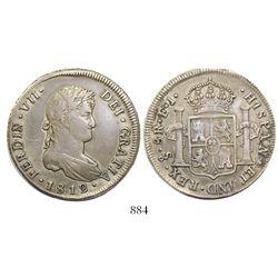 Santiago, Chile, bust 8 reales, Ferdinand VII, 1812FJ.