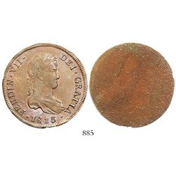 Santiago, Chile, copper obverse uniface trial strike of an 8 reales of Ferdinand VII, 1813.
