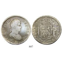 Santiago, Chile, bust 8 reales, Ferdinand VII, 1816FJ.