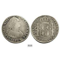 Santiago, Chile, bust 4 reales, Charles IV, 1804FJ.