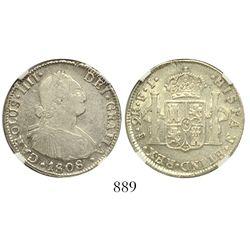 Santiago, Chile, bust 2 reales, Charles IV, 1808FJ, encapsulated NGC XF 45.