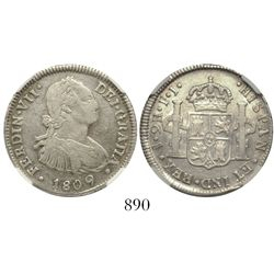 Santiago, Chile, bust 2 reales, Ferdinand VII transitional (bust of Charles IV), 1809FJ, encapsulate