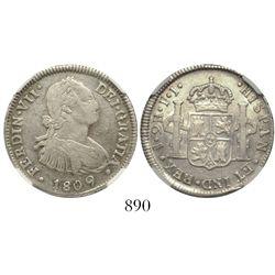 Santiago, Chile, bust 2 reales, Ferdinand VII transitional (bust of Charles IV), 1809FJ, encapsulate