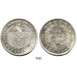 Bogota, Colombia, 1 peso, 1866.
