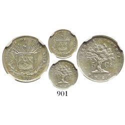 Costa Rica, 5 centavos, 1871GW, encapsulated NGC AU 55.