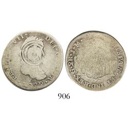 El Salvador, 2 reales, arms countermark (1868) on a Guanajuato, Mexico (War of Independence), bust 2