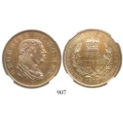 Essequibo & Demerary, copper 1 stiver, 1813, encapsulated NGC MS 65 BN, tied for finest known in NGC