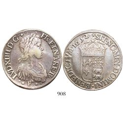 France (Pau mint), ecu, Louis XIV, 1652, mintmark F and 4 stars.