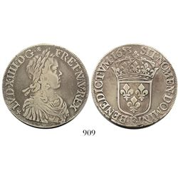 France (Angers mint), ecu, Louis XIV, 1653-F.