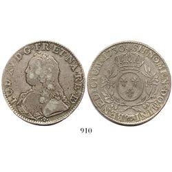 France (Pau mint), ecu, Louis XV, 1730-cow.