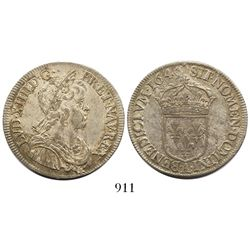 France (Paris mint), 1/2 ecu, Louis XIV, 1645-A.