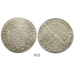France (Strasbourg mint), 33 sols, Louis XIV, 1706-BB.