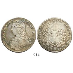 France (Rouen mint), 1/2 ecu, Louis XV, 1730-B.