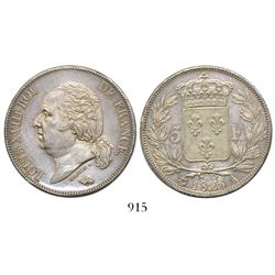 France (Paris), 5 francs, Louis XVIII, 1823-A.