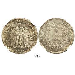 France (Paris mint), 5 francs, 1873-A, encapsulated NGC MS 64.