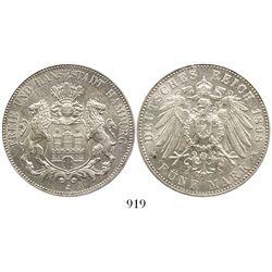 Hamburg, German States, 5 mark, 1898-J, encapsulated PCGS MS63.