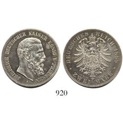 Prussia (German States), 2 mark, Frederick I, 1888-A.