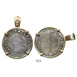 London, England, shilling, Elizabeth I, fifth issue, mintmark tun (1591-5), mounted in 14K gold pend