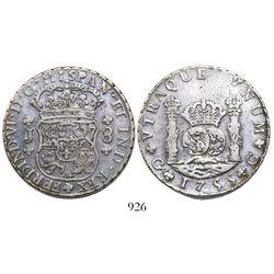 Guatemala, pillar 8 reales, Ferdinand VI, 1755J, large J.