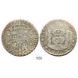 Guatemala, pillar 8 reales, Charles III, 1770P.