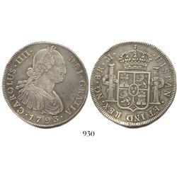 Guatemala, bust 8 reales, Charles IV, 1793M.