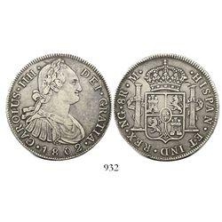 Guatemala, bust 8 reales, Charles IV, 1802M.