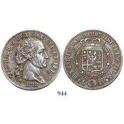 Sardinia, Italian States, 5 lire, 1819.