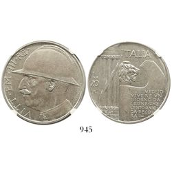 Italy, 20 lire, 1928-R, year VI, war anniversary, encapsulated NGC AU 58.