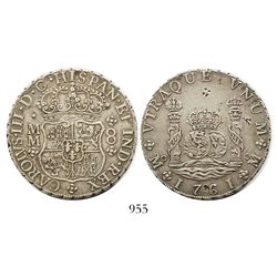Mexico City, Mexico, pillar 8 reales, Charles III, 1761MM, tip of cross under I (rare variety), with