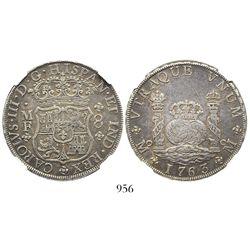 Mexico City, Mexico, pillar 8 reales, Charles III, 1763MF, encapsulated NGC XF 45.