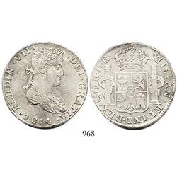 "Guadalajara, Mexico, bust 8 reales, Ferdinand VII, 1814MR (1815-type ""smirking"" bust)."