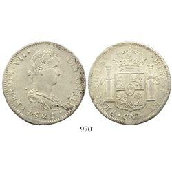 Guadalajara, Mexico, bust 8 reales, Ferdinand VII, 1821/2FS.