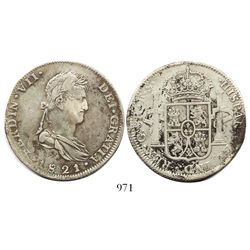 Guadalajara, Mexico, bust 8 reales, Ferdinand VII, 1821FS, inverted fleurs-de-lis in shield.