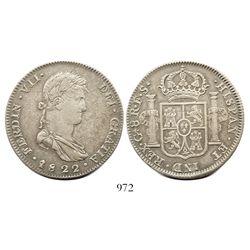 Guadalajara, Mexico, bust 8 reales, Ferdinand VII, 1822FS.